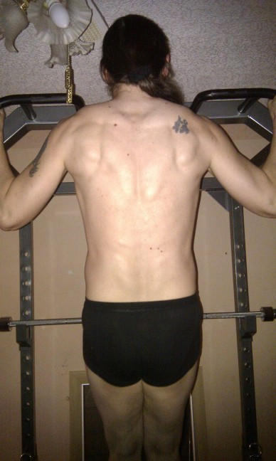 Photo of my back while I do a pull-up