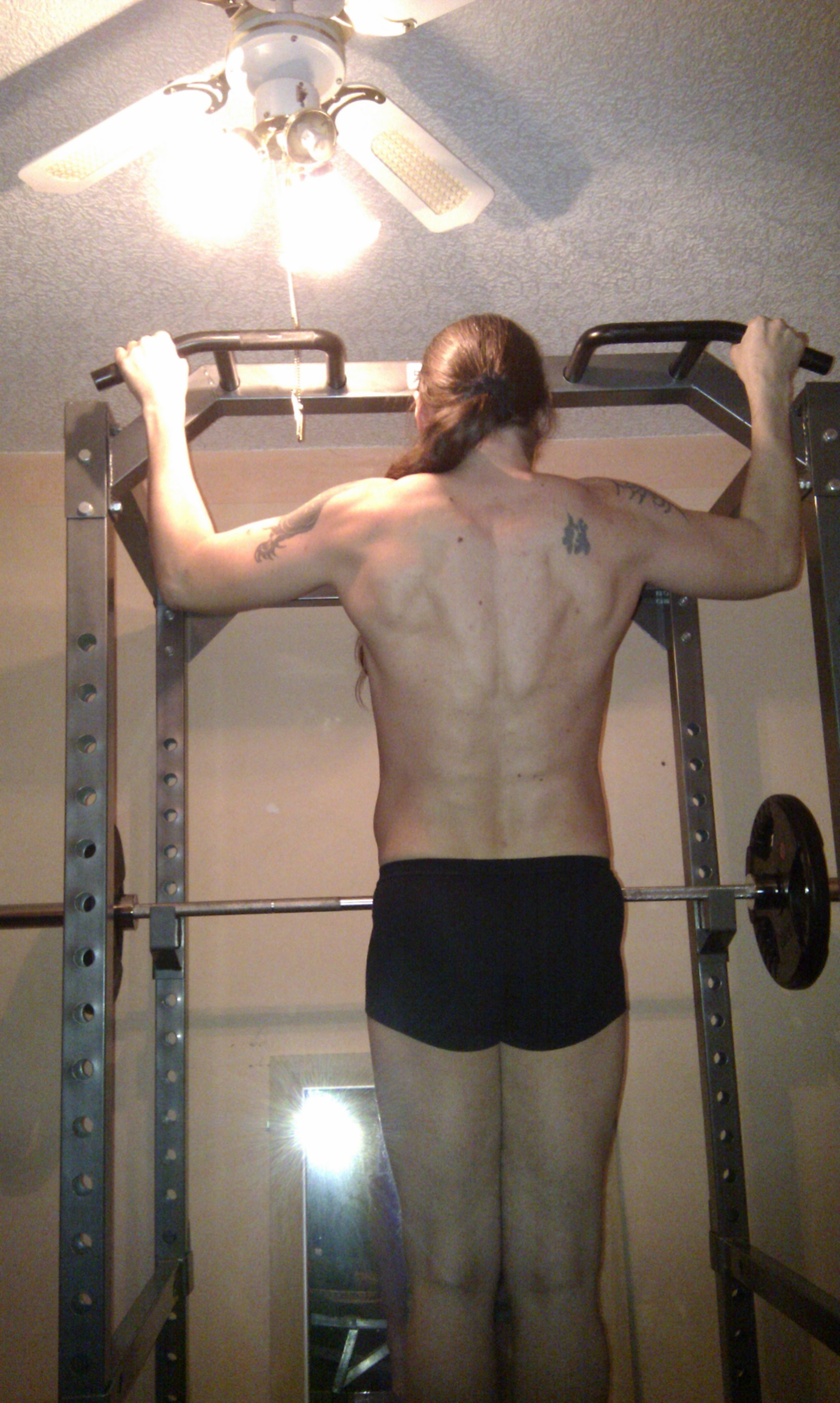 Halfway through wide-grip pull-up